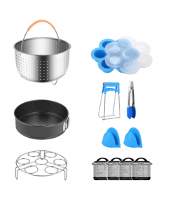 Compatible with Instant Pot 5,6,8 QT, Steamer Basket, Egg Bites Mold, Springform Pan, Egg Rack, 4 Cooking time Magnets, Dish Clip, Silicone Mitts and More